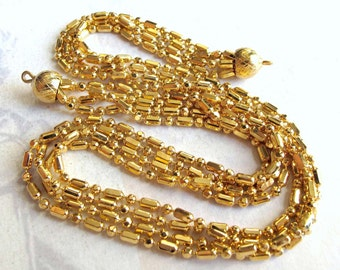 Vintage Gold Plated Ball Chain Multistrand Necklace Finding  (15 Inches) (1x) (C609)