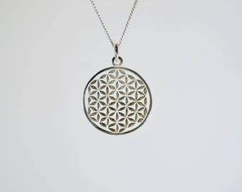 Silver flower of life necklace, flower of life round silver necklace, sacred geometry necklace, esoteric necklace, silver necklace