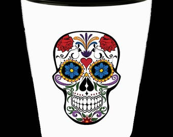 Day of the Dead Shot Glass   Day of the Dead Art   Day of the Dead Skull