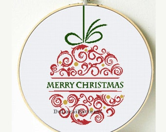 Christmas globe cross stitch pattern. Easy Christmas cross stitch pdf chart for Instant download. DIY easy Christmas decoration digital pdf