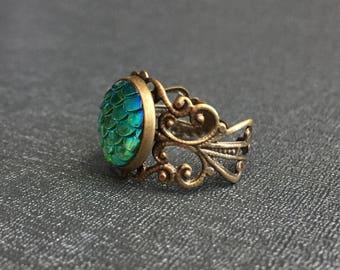 Mermaid scales or Game of Thrones dragon egg ring – Khaleesi – Daenerys Targaryen cosplay – mermaid jewelry / jewellery – bronze or silver