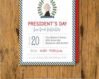 President's Day Birthday Invitations - Hipster President's day, President Invite - George Washington Invite, Political Invite, USA Invite
