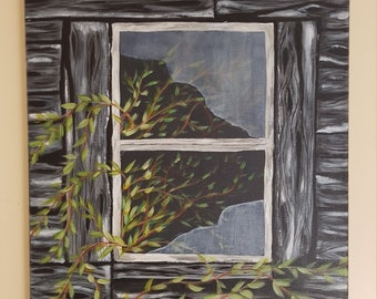 Old wood barn broken window