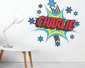 Personalised Name Cartoon Boom Comic Book V4 Wall Art Sticker Decal Mural, Other COLOURS Available, Personalised with YOUR name