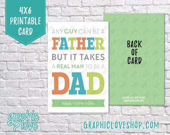 Digital 4x6 Father's Day Card for Stepdad - Folded & Postcard | High Res 300dpi JPG Files, Instant Download, NOT Editable, Ready to Print