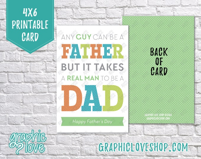 Featured listing image: Printable 4x6 Father's Day Card for Stepdad - Folded & Postcard | Digital JPG Files, Instant Download, NOT Editable, Ready to Print