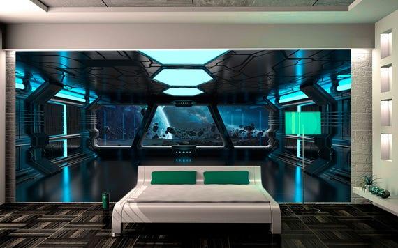 Wall mural sci-fi photo art. Wall mural futuristic spaceship.