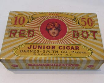 Antique  Barnes Smith Co. Red Dot Cigar Tobacco Tin