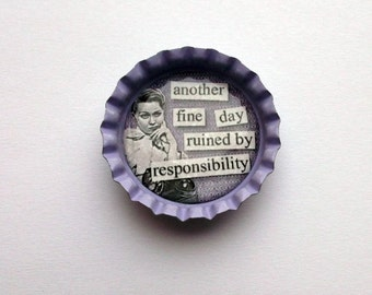 50s Retro Lilac Bottlecap Magnet with Quote