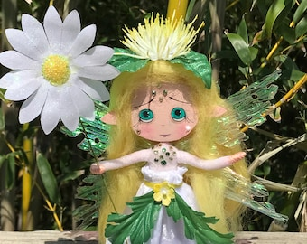 Spring Flower Fairy Fantasy Clothespin Mixed Media OOAK Art Doll