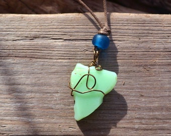 FREE SHIPPING Mint Green Sea Glass Pendant Necklace, Wire wrapped in Antiqued Brass, Blue glass bead, Adjustable Tan Cotton Cord
