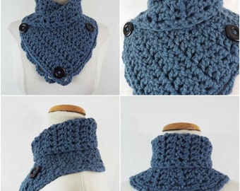 blue crochet neckband, collar, scarf , ready to ship