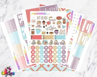 Coffeelicious || Planner Sticker Kit, Coffee, Hot Cocoa, Planner Stickers, Weekly Planner Kit, Planner Kit, Coffee Stickers