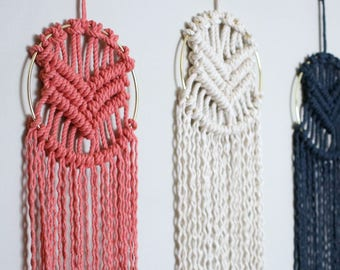 Indigo Macrame Wall Hanging in Gold Ring | Other Colors Available