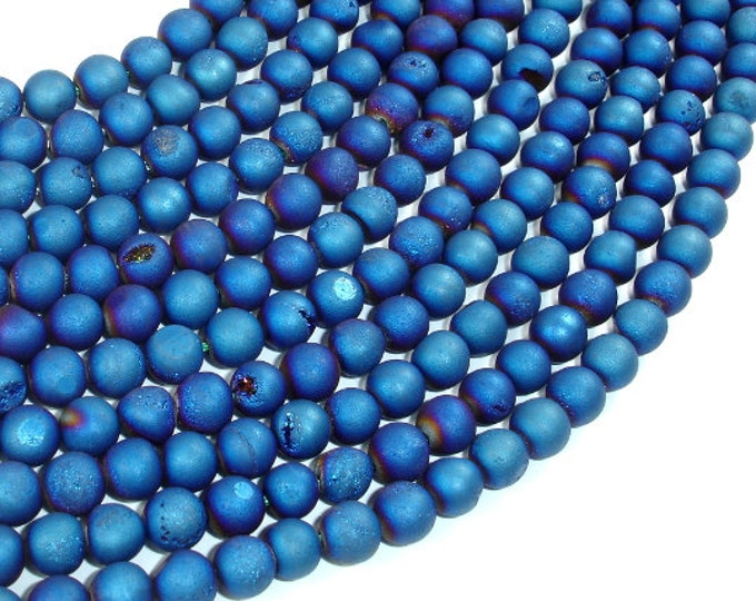 Druzy Agate Beads, Blue Geode Beads, 6mm (6.5 mm) Round Beads, 15 Inch, Full strand, Approx 61 beads, Hole 1mm (122054212)