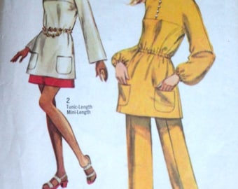 Vintage 70's Simplicity 9012 Sewing Pattern, Misses' Jiffy Tunic, Pants And Mini-Skirt, Size Size 8, 31.5 Bust, Retro Mod 1970's Fashion