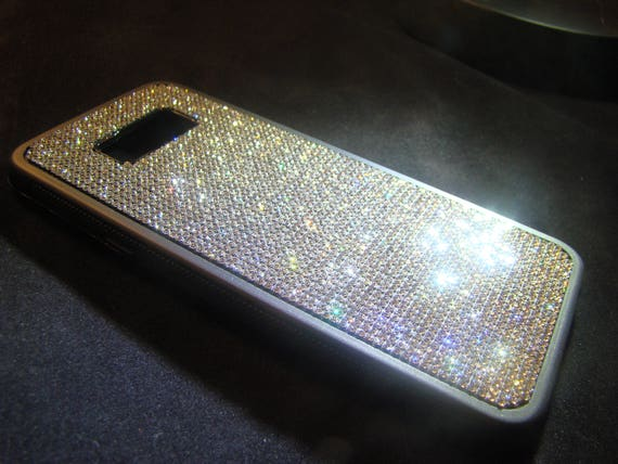 Galaxy s8 Plus Case / Galaxy s8+ Case,  Rhinestone Crystals on Black Rubber Case. Velvet/Silk Pouch Bag Included,
