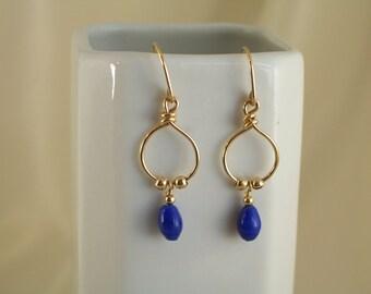 Blue glass 14k gold filled earrings MLMR handmade item 897