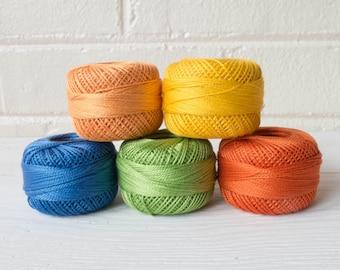 School Days Pearl Cotton Thead Set - 5 Color Finca Perle Cotton Thread Set