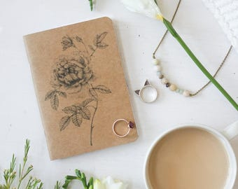 Pocket Notebook, Dot Grid Notebook, Kraft Notebook, Botanical Art, Floral Notebook, Bullet Journal, Artist Sketchbook, Traveller Planner