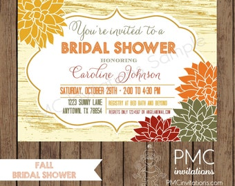 Custom Printed Fall Bridal Shower Invitations - 1.00 each with envelope