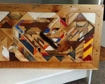 Scrap Wood Abstract Mosaic Folk Art Wall Quilt or Table Top