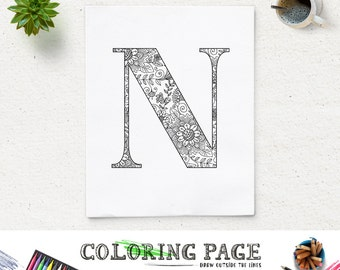 SALE Printable Alphabet Coloring Page Letter N Floral Pattern Instant Download Digital Art Printable Art Coloring Pages Adult Coloring Book