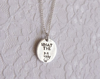 What the Fox Necklace - Hand Stamped, Funny, Handmade, kreative studios, Silly, Joke, Swear, Cuss, Bad Words, Foxy