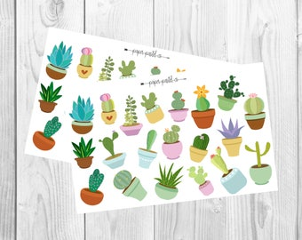 Cacti and Succulents, Planner Stickers, Scrapbook Stickers