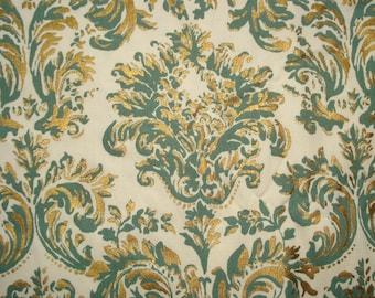 Beautiful Cotton FABRIC - Screen Printed - Metallic Gold and Sage Green - Crisp COTTON
