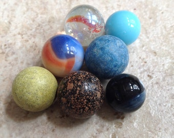 Vintage marbles, clay & glass,lot of 7 Please see pictures