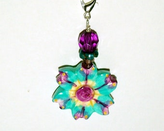 Turquoise and Purple Flower Zipper Pull - Purse Charm - Handmade Polymer Clay Bead