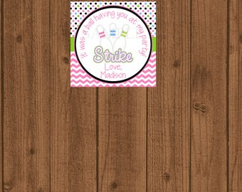 Bowling Party Favor Tag, Bowling Birthday Tag, Girls Bowling Tag, Printable Bowling Tag