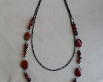 Necklace, Red Agate, Black Chain