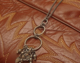 Lila--Long Oxidized Sterling Silver Necklace with Charms--Handcrafted Fine Silver Rose--Chain Detail