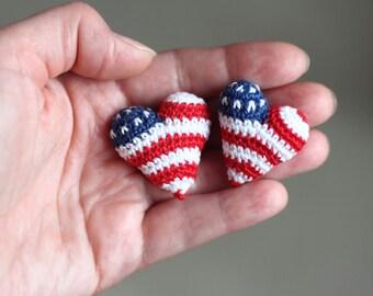 Crochet Heart Christmas Home Decor, Stars and Stripes American Flag Heart Brooch Pin, Crochet Heart Patriotic Gift, Blue Red White