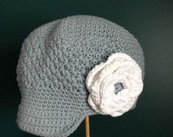 Crocheted Newsboy RTS Size 5-Preteen Child Grey White Cream Flower Cotton Hat Brimmed Hat