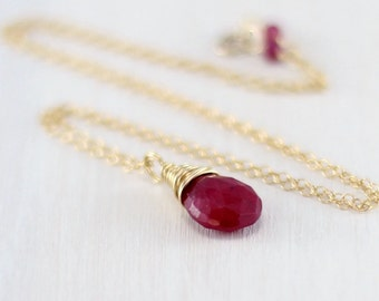 Ruby Necklace, 14k Gold Filled Genuine Ruby Pendant Yellow Gold July Birthstone Raspberry Red Ruby Jewelry Wire Wrapped