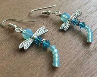 Blue Crystal Dragonfly Earrings