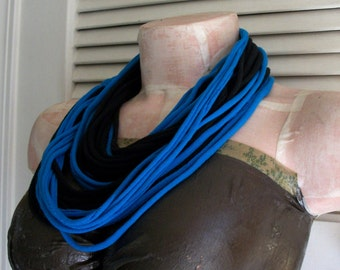 SALE Blue Turquoise & Black Infinity Multi Strand T shirt Jersey Scarf
