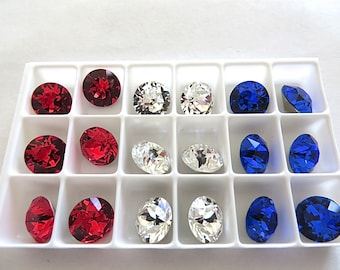 18 Red White (Clear) and Blue Swarovski Crystal Chaton Stone 1088 39ss 8mm