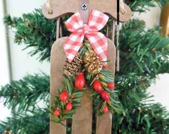 Sled Ornament Country Christmas Ornament Rustic Christmas Ornament Woodland Christmas Ornament Holiday Sled Ornament Winter Ornament
