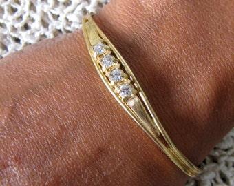 Vintage Bracelet, Rhinestone Brooch and Rhinestone Bracelet, 1950's Jewelry, Rhinestone Jewelry