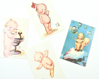 1972 Vintage Kewpie Postcard Paper Ephemera Scrapbooking Cupid Cupie Rose O'Neill Unused Ice Cream