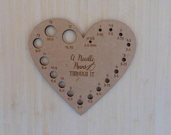 Heart Knitting Needle Gauge. Wood needle gauge measure. Knitters tool. Handy knitting needle gauge
