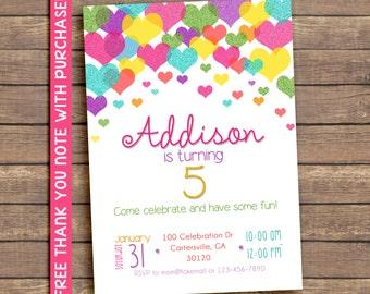 Valentines hearts confetti invitation, valentines birthday party invitation