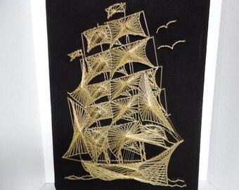 Vintage String Art Ship