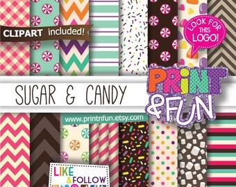 Candyland, Digital Paper Patterns Backgrounds Scrapbooking
