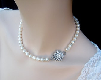 pearl necklace bridal crystal necklace Statement Bridal necklace Wedding Rhinestone necklace swarovski crystal and pearl necklace CIARA