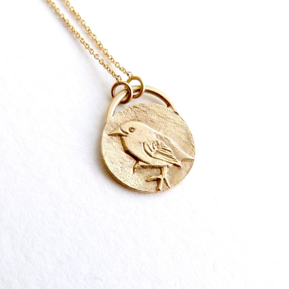 Delicate disc necklace engraved gold necklace statement delicate disc necklace engraved gold necklace statement necklace long necklace gold coin necklace sparrow signet dainty bird necklace mozeypictures Gallery